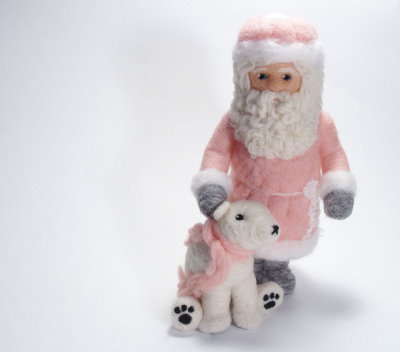 Soft-Wednesday. Soft-sculpture Santa and bear. Very cute. From McBride House.