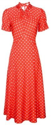 NEW CLASSY RED POLKA DOT VINTAGE WW2 1940's 1950's PINUP FLARED RETRO TEA DRESS