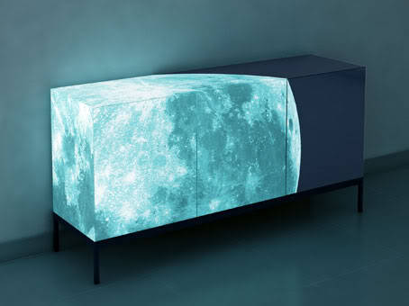 enochliew:  Fullmoon sideboard by Sotirios Papadopoulos The 'moon' on the furniture's surface is a special luminous and ecological paint (ELI ecolightinside), which creates a glowing effect in the dark.