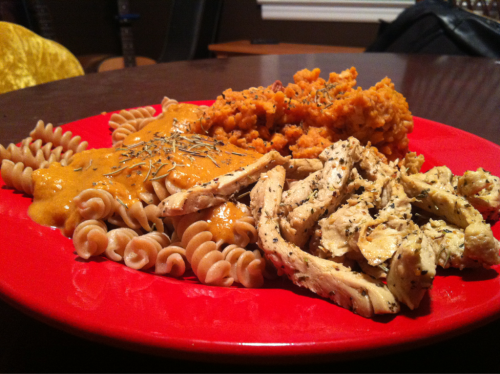 "I made this two days ago! I used the pumpkin mac and ""cheese"" recipe we posted earlier along with mashed sweet potatoes with coconut and pecan and I had some rosemary and basil fried ""chicken"" to top it all off. Finishing up leftovers tonight!!"