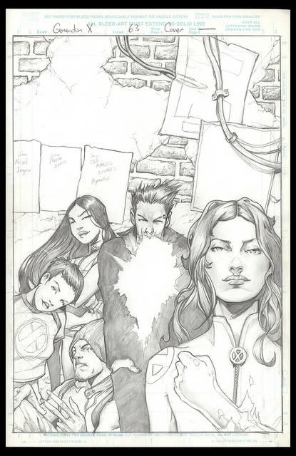 Marvel Comics - Generation X #63 - alternate cover - original artwork by Adam Pollina - 2000 by JasonLiebig on Flickr.Via Flickr: I first met Adam Pollina when I was the assistant editor on the core X-Men line of comic books.  At the time, Adam was on a successful run of penciling X-Force. Adam Pollina was quite a guy, and from where I was sitting, not quite the normal comic artist;  He lived in the East Village, went to yoga and occasionally modeled - had blue hair for the better part of a year, and always seemed to have beautiful women around him.   He would often come into our office and regale us stories of some run-in with Madonna or some club outing.   In the X-Office we found it entertaining, but for some reason I think it annoyed some of the other editors when they would drop in.  Adam also helped bring in writer Joe Harris, who became a good friend. Adam was and is a great artist and a fantastic storyteller.  In addition to that, he was also a hip young New Yorker, so when I had the chance to get an alternate cover created for my Counter-X relaunch of Generation X, I thought he'd be perfect.  Since it was an alternate cover, we figured we'd have some fun with it, and rather than doing a pencil and ink cover, we had Adam do rendered pencils, and the colorist worked over those.     After it was all over, he gave me the piece.  It is one of only two pieces I have from the many books I helped out the door during my years at Marvel, and it is a treasured artifact from my time at the House of Ideas.