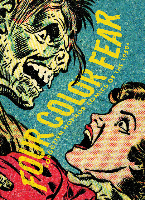 "Four Color Fear: Forgotten Horror Comics of the 1950s (2nd Printing) by fantagraphics on Flickr.Via Flickr: After the first printing, released in Fall 2010, sold out in a matter of months, we went back to press with a brand-new cover design for the 2nd printing! Of the myriad genres comic books ventured into during its golden age, none was as controversial as or came at a greater cost than horror; the public outrage it incited almost destroyed the entire industry. Yet before the watchdog groups and Congress could intercede, horror books were flying off the newsstands. During its peak period (1951-54) over fifty titles appeared each month. Apparently there was something perversely irresistible about these graphic excursions into our dark side, and Four Color Fear collects the finest of these into a single robust and affordable volume. EC is the comic book company most fans associate with horror; its complete line has been reprinted numerous times, and deservedly so. But to the average reader there remain unseen quite a batch of genuinely disturbing, compulsive, imaginative, at times even touching, horror stories presented from a variety of visions and perspectives, many of which at their best can stand toe to toe with EC. All of the better horror companies are represented: Ace, Ajax-Farrell, American Comics Group, Avon, Comic Media, Fawcett, Fiction House, Gilmor, Harvey, Quality, Standard, St. John, Story, Superior, Trojan, Youthful and Ziff-Davis. Artist perennials Jack Cole, Reed Crandall, George Evans, Frank Frazetta, Jack Katz, Al Williamson, Basil Wolverton, and Wallace Wood contribute both stories and covers, with many of the 32 full-sized covers created by specialists Bernard Baily, L.B. Cole, William Eckgren, and Matt Fox. Editors John Benson and Greg Sadowski have sifted through hundreds of rare books to cherry-pick the most compelling scripts and art, and they provide extensive background notes on the artists, writers, and companies involved in their creation. Digital restoration has been performed with subtlety and restraint, mainly to correct registration and printing errors, with every effort made to retain the flavor of the original comics, and to provide the reader the experience of finding in the attic a bound volume of the finest non-EC horror covers and stories of the pre-code era. Named one of the 10 Best Horror Comic Releases of 2010 by Fangoria and one of FEARnet's 5 Best Comics of 2010. 320-page full-color 7.5"" x 10.5"" softcover ISBN: 978-1-60699-343-9"