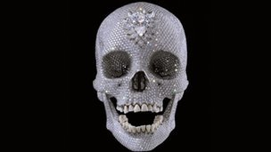 "Damien Hirst skull to display in Turbine A £50m Damien Hirst diamond-encrusted  skull will be shown in Turbine Hall to accompany a Tate Modern retrospective of  his work from 4 April. For the Love of God will be displayed until 24 June. The exhibition, featuring his ""pickled shark"", runs from 4 April to  September. Tate said the skull, appearing for the first time in a UK public gallery, may  be viewed ""alternatively as a glorious, devotional, defiant or provocative  gesture in the face of death itself"". The work, which will be housed in a viewing room in the east end of the  Turbine Hall, was sold to an investment group in 2007 with Hirst retaining  part-ownership. He has described For the Love of God, the platinum cast of a 35-year-old 18th  century European man covered in 8,601 jewels, as an ""uplifting"" piece that  ""takes your breath away"".  Words cannot describe how excited I am to see this! WOOT!"