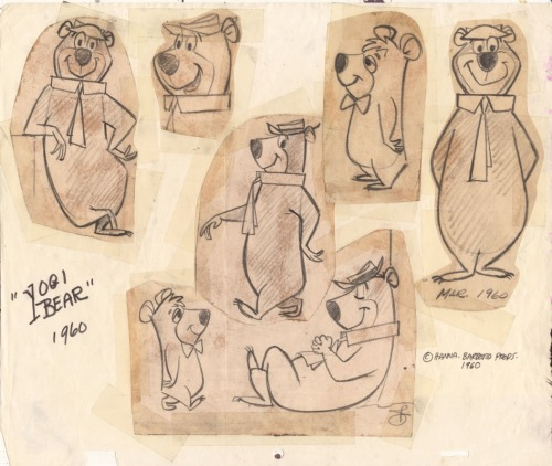 Yogi Bear and Boo-Boo Bear on an original Hanna-Barbera model sheet from 1960 via rrrick