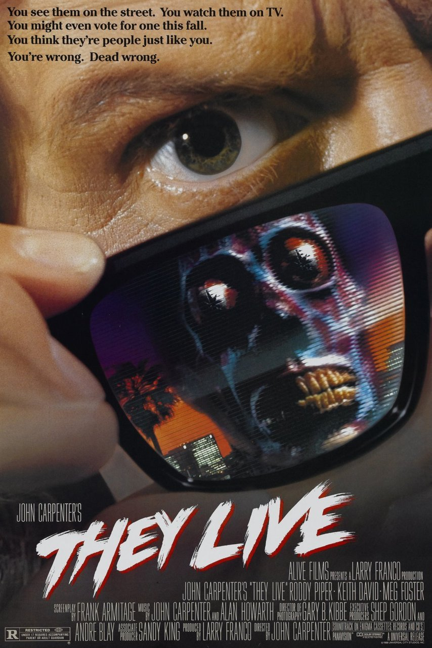 "They Live directed by John Carpenter in 1988. It's a really fun movie that famously inspired Shepard Fairey's 'Obey' work. It's got one of the longest, most repetitive fight scenes in movie history, and includes the incredible line 'I have come here to chew bubblegum and kick ass… and I'm all out of bubblegum'. Here's the trailer, oh and you can watch it in full here  On February 15 2011, Professor Jonathan Lethem presented a screening at Pomona College. Lethem has also written a book, also called ""They Live"" on the film. This video is from his presentation after the film and a Q&A session. I'd always liked the ideas and the imagery, but i had no clue of how much is going on in this movie!"