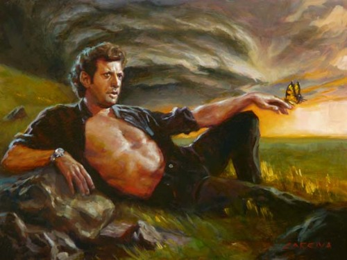 agentmlovestacos:  IAN MALCOLM: FROM CHAOS by John Larriva, part of Brandon Bird's The JP Show (Just People), a humans-only Jurassic Park art show. You know what I love about this? EVERYTHING.