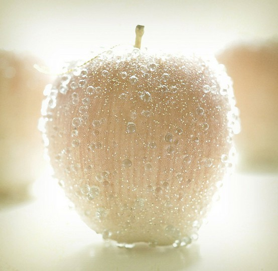 Frosted Apples       Dipped in dew,    frosted with ice crystals,   and hung on the tree by golden-winged pixies   with hair the color of star shine.   (Christmas tree ornaments.)Texture by here