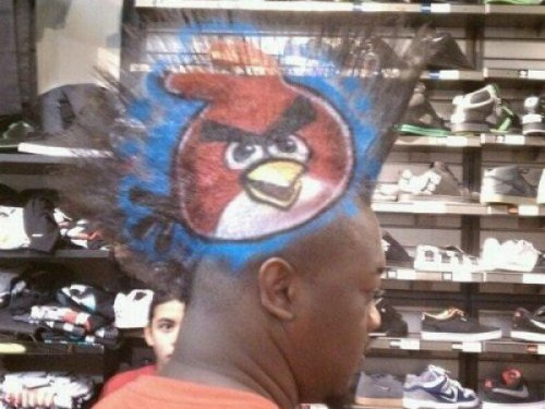 Angry Birds Haircut  It's a very subtle way of telling cops to back off.
