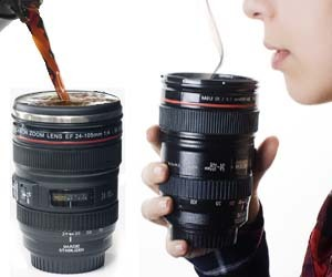 reasons to go broke:  Camera Lens Coffee Mug A camera lens that is actually a coffee mug you can drink out of. $7.95