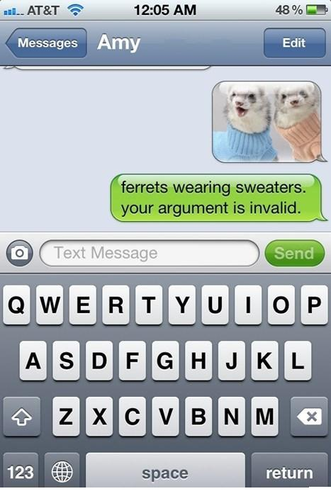 Can't argue with sweater wearing animals