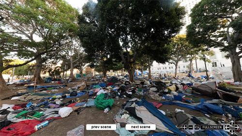 good:  latimes:  360° panorama: What the Occupy L.A. camp looked like this morning. Click through for the full interactive.  The skeleton of the Occupy L.A. encampment after being cleared out by police last night. More than 200 people were arrested.