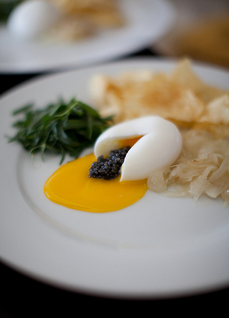 eatsmeetswes:  Egg + Caviar Sex on Flickr. Hen egg with paddlefish caviar, homemade potato chips, onion sousbise, herb salad