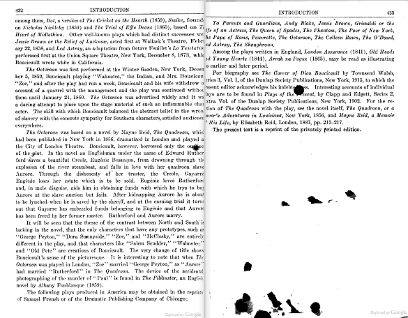 Ink splatter. From p. 432-33 of Representative American Plays, ed. by Arthur Hobson Quinn (1765). [Here]