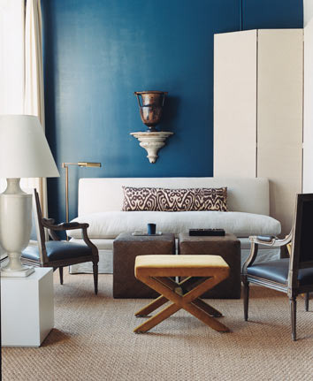 ldnsyndrome:  Modern blue + white living room: 'Galapagos Turquoise' by Benjamin Moore by xJavierx on Flickr.