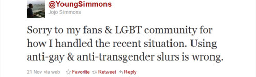 Jojo Simmons apologizes for anti-gay comments on Twitter