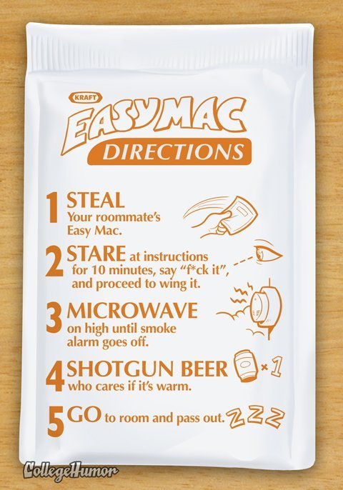 LMAO  collegehumor:   What Easy Mac Instructions Look Like Under the Influence of Various Drugs Click through to get stoned