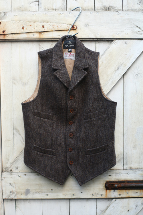 lylaandblu:  Harris Tweed vest with all the right details - Nigel Cabourn