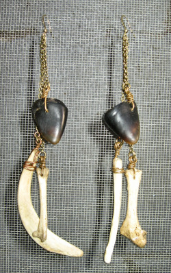 These beautiful one of a kind earrings are constructed withpigeon bones,seagull furcula , deer hooves and rib section.Sanded and sealed for ultimate comfort and durability . Wire wrapped with oxidized brass wire to cascading brass chains . They Hang approximately 7.5 inches from copper ear wire **Pigeon**The pigeon is the totem of focus and perseverance.This bird medicine is helpful for those seeking security and clarity in all areas of their life.Pigeon energy assists you in finding stabilitywhile accomplishing your goals. Strengthening your attunement with nature.*Deer*their senses are very acute;with vision designed for clarity and distance.Equipped with A finely tuned auditory system,having the ability to detect slight  movements and pick upon subtle clues.Deer medicine assists you in make strong connections within.Their gentle movements will help you maneuver through new and unfamiliar energies.Learning to be mindful with yourself and others.Do not force situations. Be patientfor true outcomes.*Sea Gull*These messengers of the gods Chiefly exist on the shorelines of the world . A  mythical environment that is neither land or sea symbolizing the space  between the living world and the spirit world. Emphasizing the  connection with earth, air and water combining the gifts of soaring and  floating, and maintaining your position on earth .Opening yourself to this energy enables you to read people and environments more effectively Sea  Gull can also give you the ability to soar above the mundane and  connect you with the immense power of your own emotions, life patterns  and decisions.***waiting for its proper owner to bestow its inner magic******* pigeon and seagull bones found in Buffalo Ny 2009 ****** Deer hooves from trading post in the majestic Sedona , Az 2011***