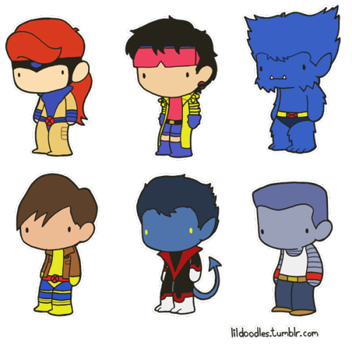 lildoodles:  Lil' X-Men: X-Gene booster pack! This pack includes Jean Grey, Jubilee, Beast, Morph, Nightcrawler and Colossus! Like these? Get the stickers! Jean and Jubilee Beast and Morph Nightcrawler and Colossus Collect them all! Related booster packs: Heroes and Antiheroes Charles Xavier's School for Gifted Children
