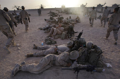 Some of the Marines grab a bit of shut-eye before beginning a night assault.