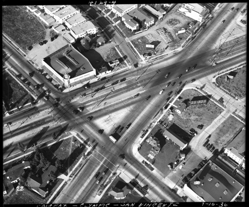 1936 aerial view of the intersection of Fairfax Avenue, Olympic Boulevard, and San Vicente Boulevard. (From the USC Digital Library's Automobile Club of Southern California Collection)