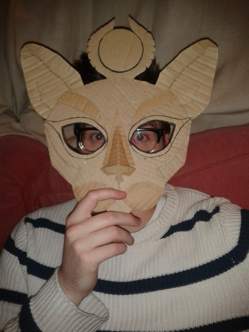Bastet, Egyptian cat goddess mask! Calum helps me by modelling my cardboard mock up.
