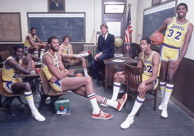 Members of the 1981-82 Los Angeles Lakers —  Norm Nixon (10), Mitch Kupchak (41), coach Paul Westhead, Jamaal Wilkes  (52), Magic Johnson (32), Kareem Abdul-Jabbar (33), and Michael Cooper  (21) — sit in classroom for a SI photo shoot. The Lakers went onto win the title nine months later. Will they have the same success this season? (Lane Stewart/SI) THOMSEN: The free agent frenzy will soon begin. Here's all you need to knowMANNIX: The top 20 free agents of 2011 | Complete list of free agentsAMICK: Four teams express interest in David West | Celtics eye Chris Paul