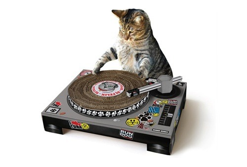 pitchfork:  Somehow, we forgot to put this cat scratcher DJ deck in our Holiday Gift Guide.