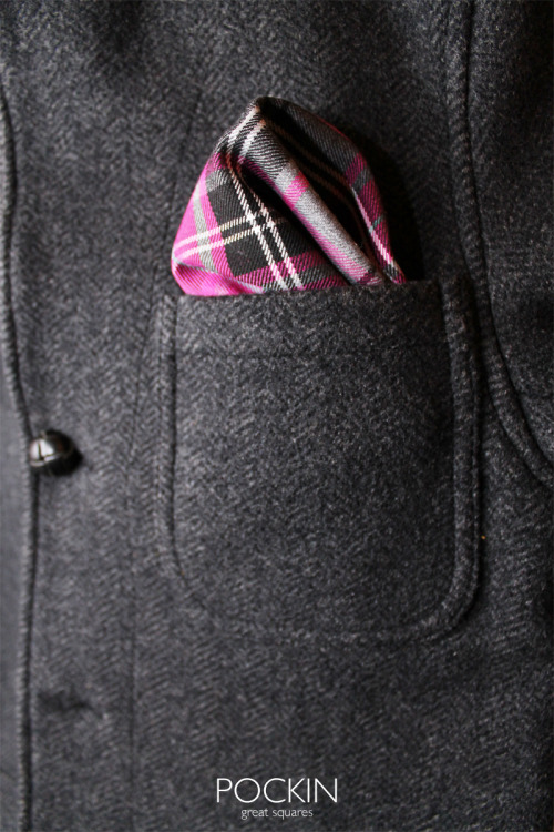 Pockin Scottish Grey is a great pocket square. Check out the contrasts between the grey and pink/purple colors in this pocket square! It's awesome! No more no less. www.pockin.com