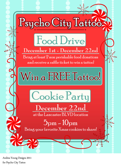 Holiday poster design for Psycho City tattoo. Andrea Young Designs 2011