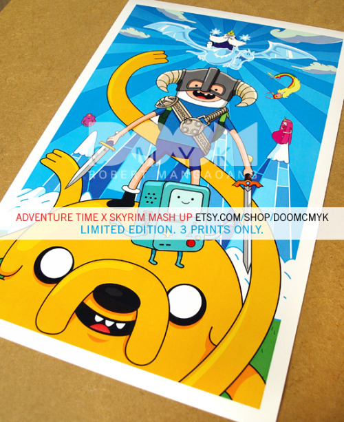 doomsdaily:  Adventure Time x Skyrim Mash-Up Limited Edition Poster. 3 Prints Only. http://www.etsy.com/shop/DoomCMYK