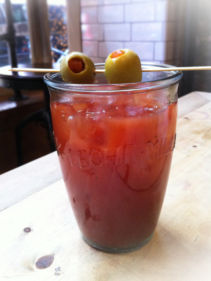 There's a lot to be said for a good Bloody Mary. We found this restaurant/wine bar Aria in the West Village and were drawn to the twinkly lights outside. Inside, we were blown away by a goat cheese plate, gnocchi, and spicy shrimp kabob over marinated artichokes.. and these Bloody Mary's. For me, it was just the right amount of horseradish that made it. Well done Aria. Photo credit: Lush Lady