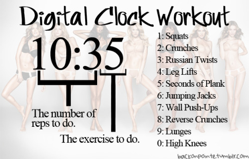 Digital Clock Workout.. This is actually pretty clever lol