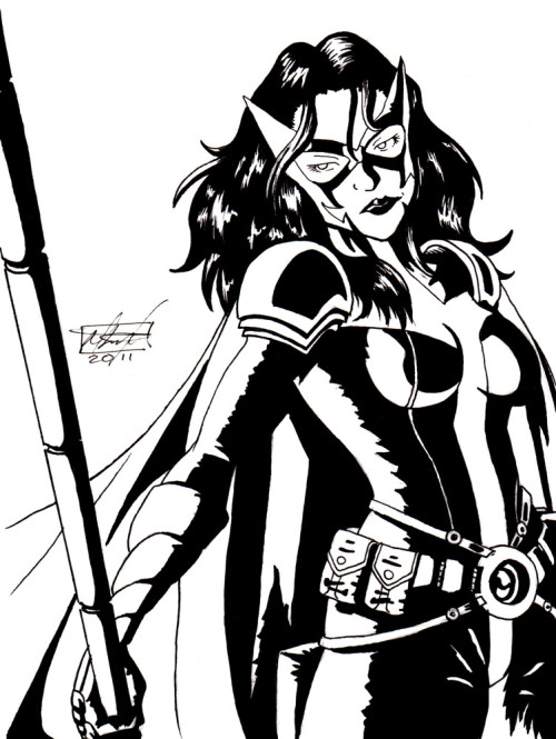 Huntress :ink: by =Sakurafire Huntress Feel free to download and color if you want