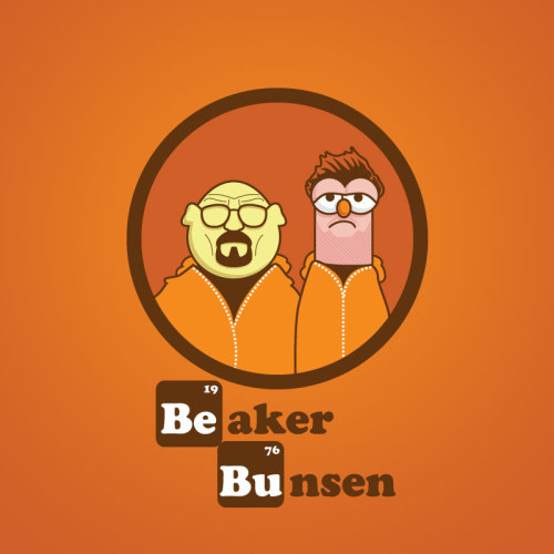 "danndesigns:  ""beaker bunsen."" shirts, onesies, stickers and iphone cases available here. Meep meep… bitch."