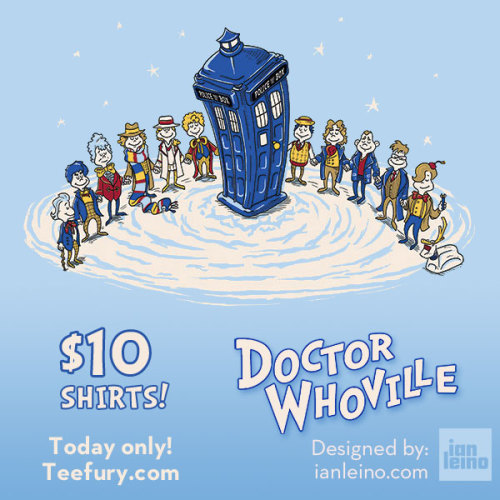 "ianleino:  WHOVIANS! my ""Doctor Whoville"" shirt is now up for sale at http://www.teefury.com/ for just $10 - but only for $24 hours! EDIT: Teefury is experiencing some technical issues that may prevent people from ordering. Until that's resolved, you can also purchase shirts printed on American Apparel, as well as ""WHO-liday"" greeting cards in my own shop: http://shop.ianleino.com  PLUS! I'm giving away greeting cards AND shirts! Just follow me and reblog this photo to enter! Participate on Facebook or Twitter to increase your chances to win!"