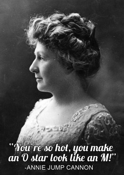 Annie Jump Cannon (1863-1941) was an American astronomer best known for devising a system for classifying stars based on their temperatures. She created 7 categories: O,B,A,F,G,K, and M. O stars are the hottest (at between 30,000 and 52,000 degrees Kelvin), and are quite rare, while M stars are common and much cooler (at less than 4,000 degrees Kelvin). -JC