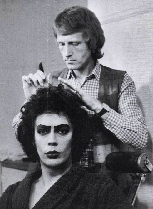 Tim Curry getting his hair and make up done for the filming of The Rocky Horror Picture Show (1975)