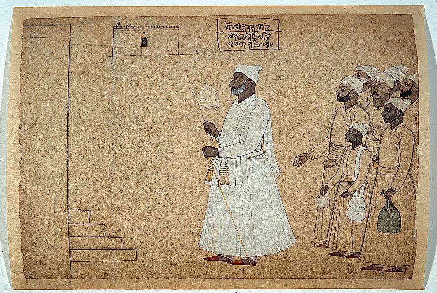 "Pandit Hari Saran approaching a palace, by Nainsukh, c. 1755-1760.  ""This wonderful, yet somewhat enigmatic drawing is by Nainsukh, one of the most influential painters of the Pahari region. It depicts the pandit Hari Saran - possibly the family priest of the prince Balwant Singh of Jasrota, Nainsukh's patron."" Via http://www.payer.de/amarakosa7/amara215j.htm"