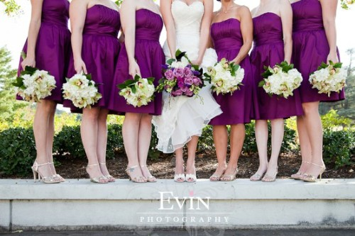 143weddings:  Purple bridesmaid dresses! :)