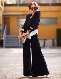 Wide leg pant with cream accents. Photo by Mr Newton