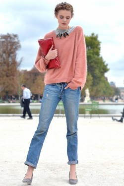casual mohair knit, boyfriend jeans, and a classic Valentino studded clutch Photo by Courtney D'Alesio