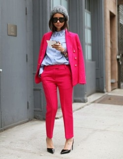Fuchsia pant suit photo  Mr. Newton