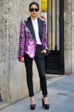 Sequin-embellished tuxedo jacket.   Photo by Melanie Galea