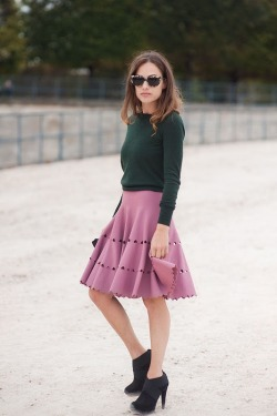 Color blocking with green top and heart cut out skirt.