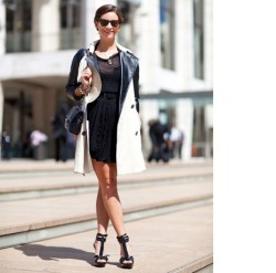 Fendi dress  topped with Topshop trench and Chanel bag, Burberry sandals and Bottega Veneta glasses.