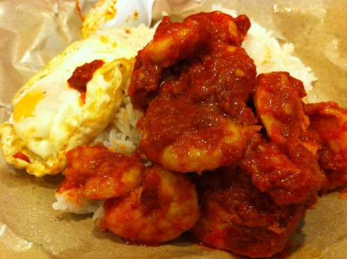 Lunch by Mama Dearest: Rice with Fried Egg and Chilli Prawns