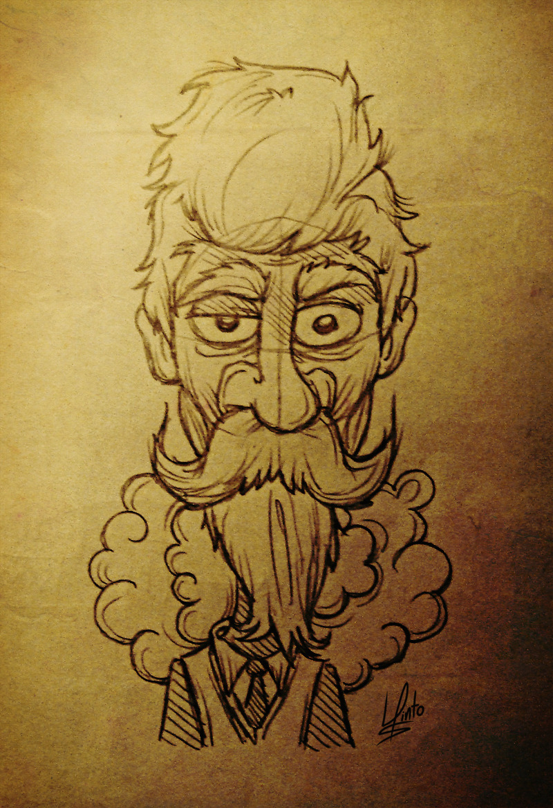 Crazy-Looking Bearded Man Sketch, 2011 by Luis Pinto