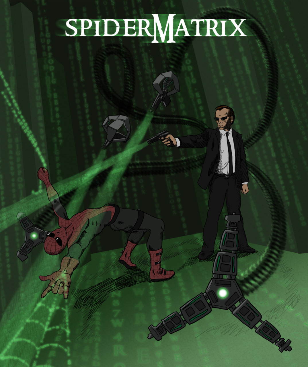 SpiderMatrix - Spideo and Agent Ock battle in bullet time Spider-man / Post Apocalyptic mash-up created by Alex Ryan for www.draw2d2.com
