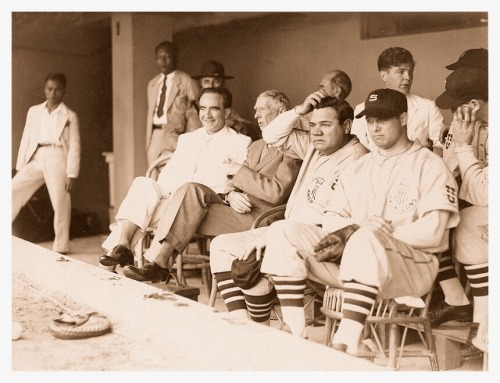 1934 Tour Of Japan - In The Dugout Here's a great pic that shows Connie Mack, The Babe and Jimmie Foxx hanging out in the dugout during the '34 Tour Of Japan.  Seems like this is either before the game started or the US Team was batting. Also, that looks like Lou Gehrig with his hand on his face next to Foxx.